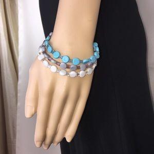Multi-layer Turquoise/Grey Bead Bracelet